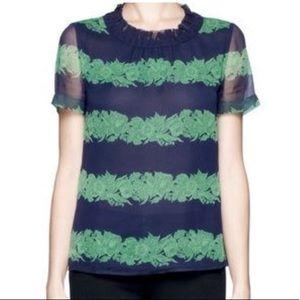 J.Crew Silk Floral Striped Top